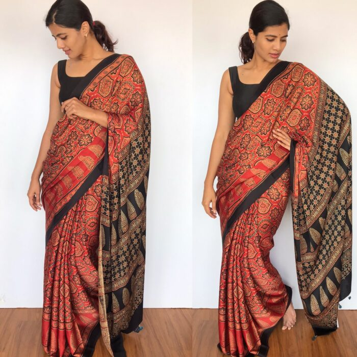 Pure Dark Red Modal Silk Saree with Ajrakh Hand Block Prints