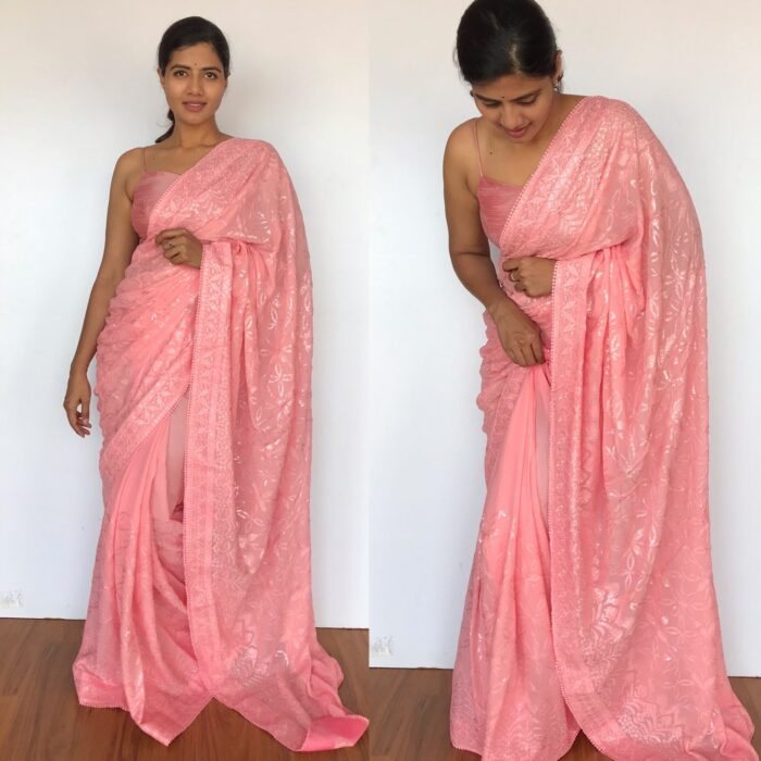Peach Georgette Saree with Embroidered Sequins