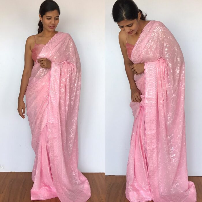 Pink Georgette Saree with Embroidery Sequins