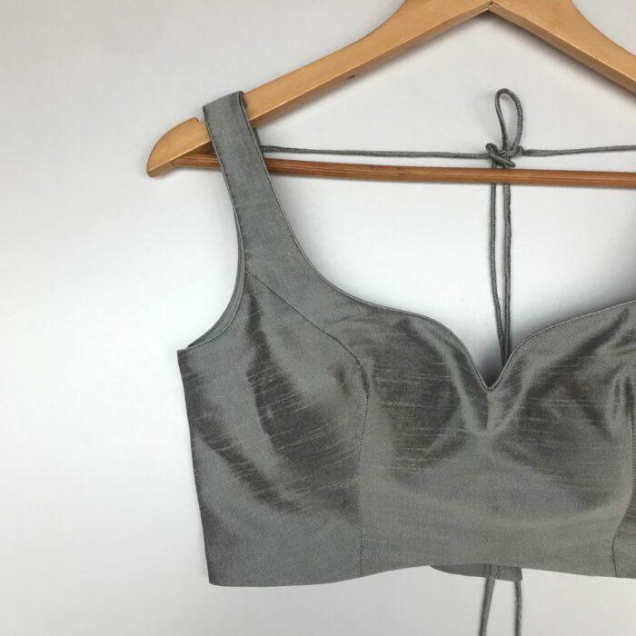 Grey Raw Silk Blouse