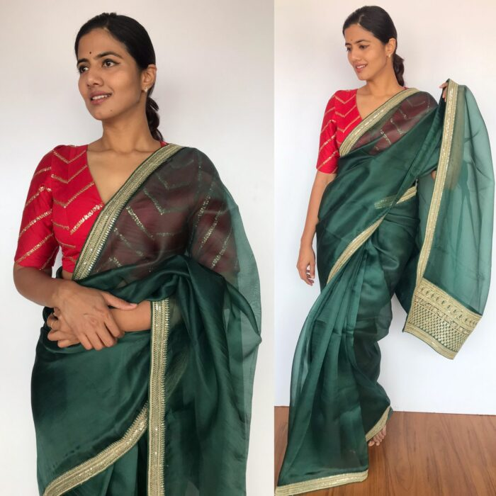 Amber Green organza saree with embroidery