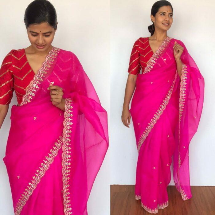 Rani Pink Organza Silk Saree highlighted with beautiful Gota, Mirror work, Cut Dana embroidery