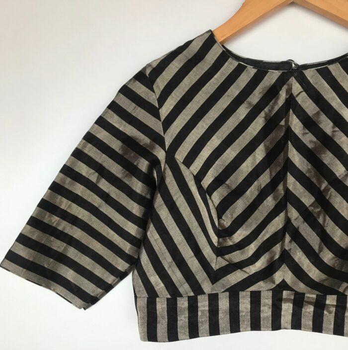 Handwoven Pure Black Tissue Silk Blouse