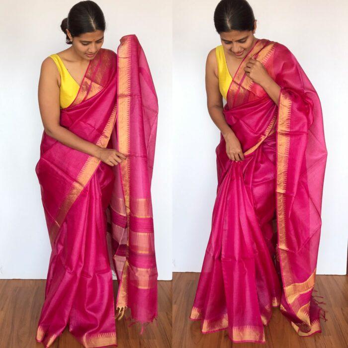 Pure Hot Pink Kota Tussar Silk Saree