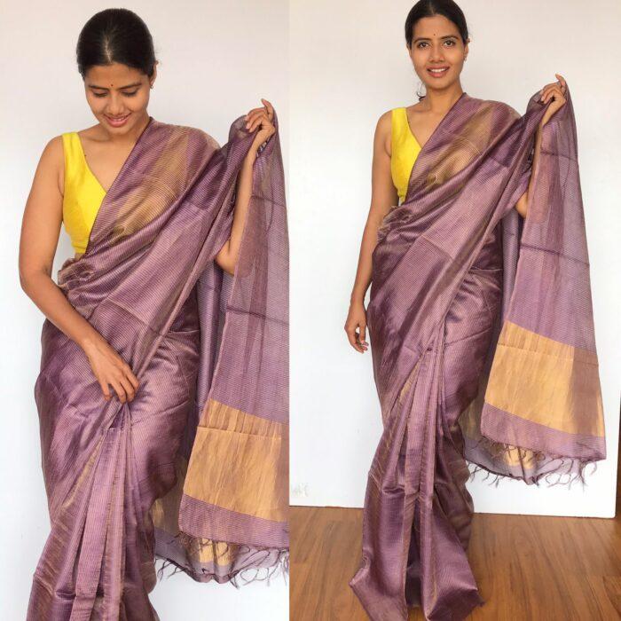 Pure Lilac Tussar Silk Saree with Tissue Silk Zari Weaves