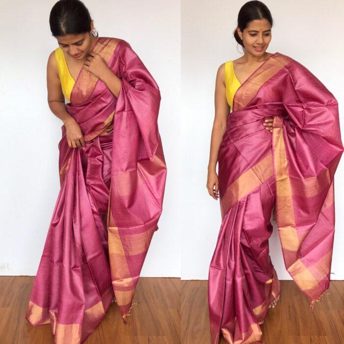 Pure Onion Pink Tussar Silk Saree