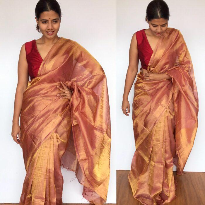 Red Tussar Silk Saree with Tissue Silk Zari Weaves