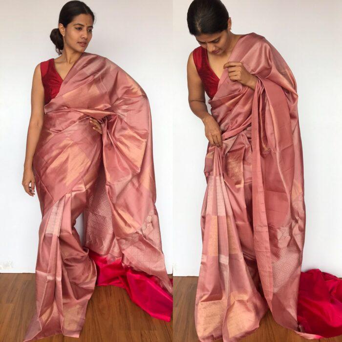 Blush Pink Kanjivaram Silk Saree with Silver Zari Weaves