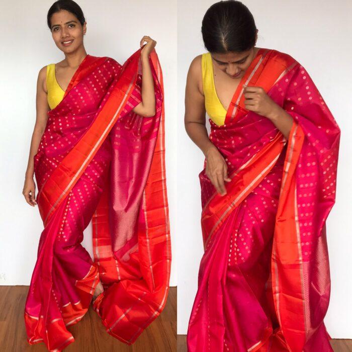 Pink Kanjivaram Silk Saree with Handwoven Zari Buttas