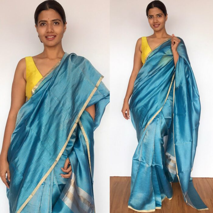 Blue Chiniya Silk Saree with Golden Zari Stripes