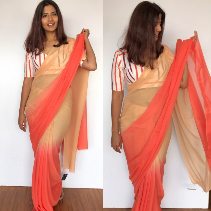 Orange Ombre Georgette Saree with Blouse