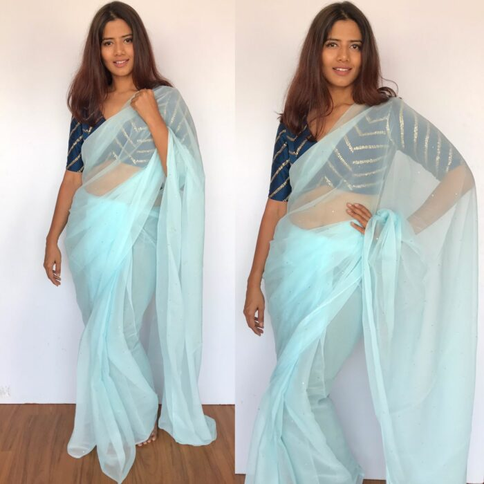 Baby Blue Chiffon Saree with Badla work